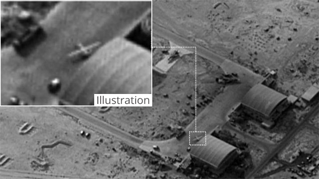 Vista aérea de la base aérea siria T4 en Wadi Murran